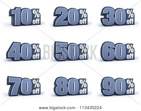 Set Of Discount Price Signs, In 9 Variations Isolated On White Background