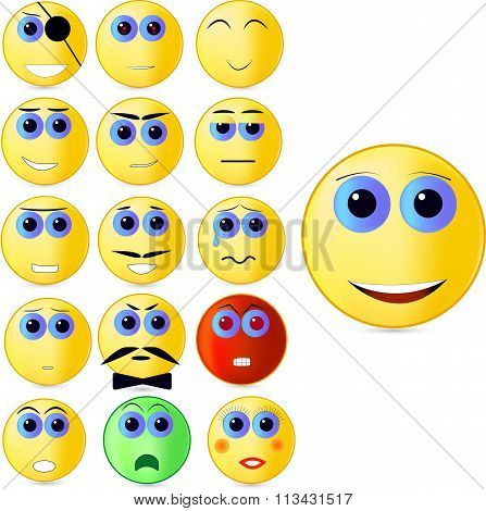 Vector illustration consisting of sixteen different emoticons depicting different emotions