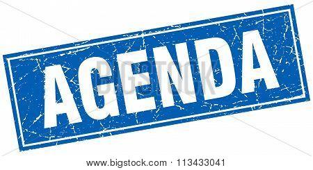 Agenda Blue Square Grunge Stamp On White