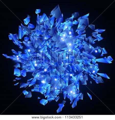 Blue Techno Style Vector Explosion. Shards Of Glass