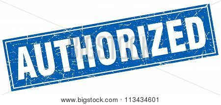 Authorized Blue Square Grunge Stamp On White