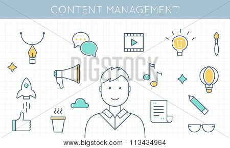 Content Management and Marketing Illustration