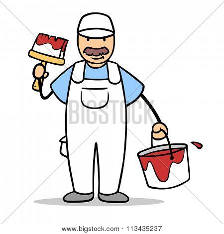 Cartoon man as painter with paintbrush and paint bucket