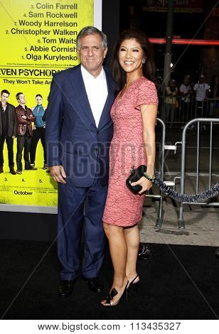 LOS ANGELES, CALIFORNIA - October 1, 2012. Les Moonves and Julie Chen at the Los Angeles premiere of 'Seven Psychopaths' held at the Mann Bruin Theatre, Los Angeles.
