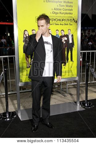 LOS ANGELES, CALIFORNIA - October 1, 2012. Sam Rockwell at the Los Angeles premiere of 'Seven Psychopaths' held at the Mann Bruin Theatre, Los Angeles.