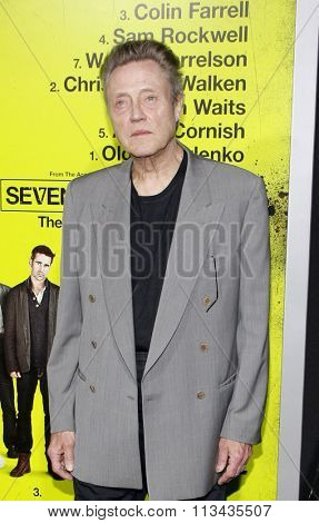 LOS ANGELES, CALIFORNIA - October 1, 2012. Christopher Walken at the Los Angeles premiere of 'Seven Psychopaths' held at the Mann Bruin Theatre, Los Angeles.