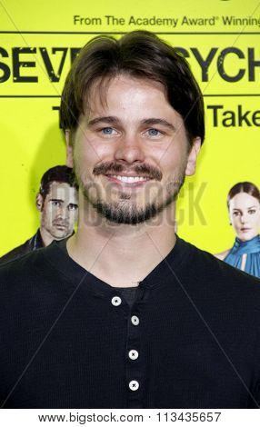 LOS ANGELES, CALIFORNIA - October 1, 2012. Jason Ritter at the Los Angeles premiere of 'Seven Psychopaths' held at the Mann Bruin Theatre, Los Angeles.