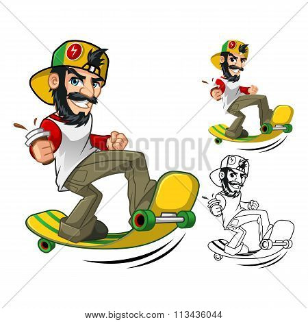 Hipster On Long Board Cartoon Character
