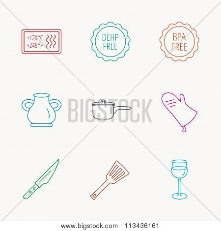 Saucepan, potholder and wineglass icons.