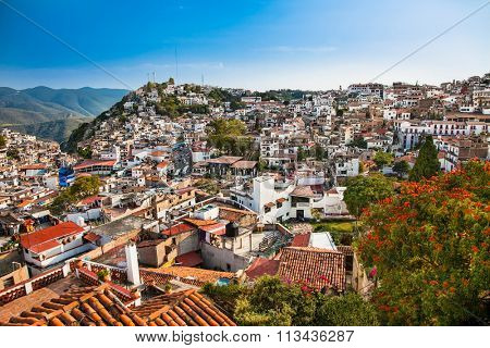 Panoramic view on Texco traditional colonial city in Mexico, Latin America.
