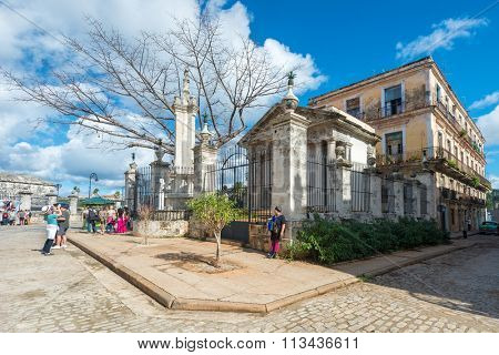 HAVANA,CUBA - JANUARY 5, 2015 : The colonial building of El Templete in Old Havana
