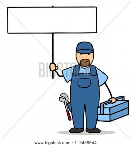 Cartoon plumber holding up an empty white sign