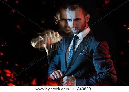 Businessman as an athlete fighter, alter ego aggressive businessman
