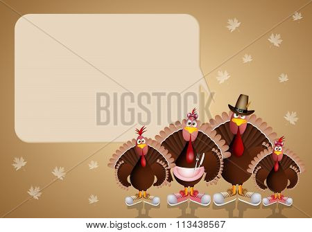Turkey's Family For Thanksgiving Day