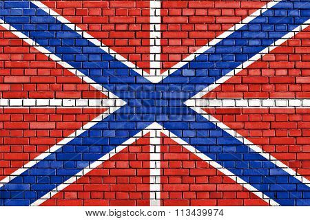 Flag Of Naval Jack Of Russia Painted On Brick Wall