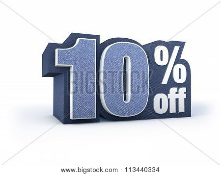 10 Percent Off Denim Styled Discount Price Sign