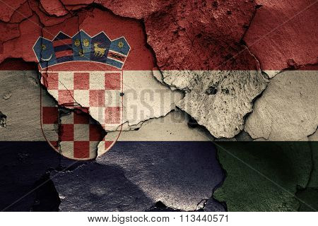 Flags Of Croatia And Hungary Painted On Cracked Wall