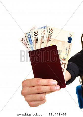 Human Tourist Holding Money And Passport.