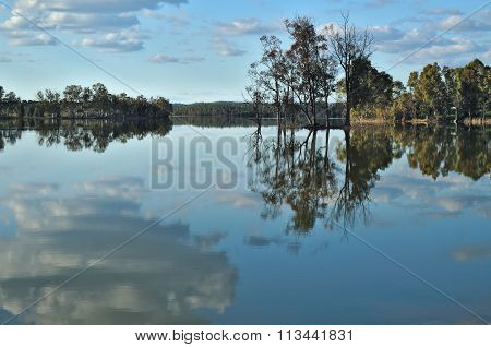 Peaceful lake and forest scenery