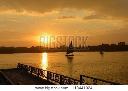 Cairo - Sunset over the Nile