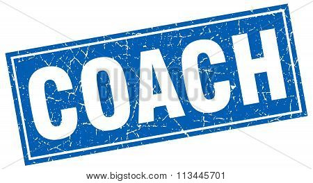 Coach Blue Square Grunge Stamp On White