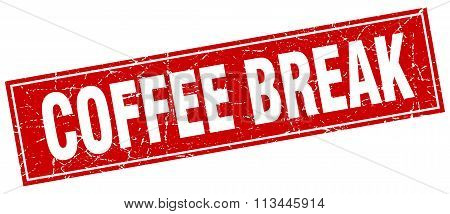 Coffee Break Red Square Grunge Stamp On White