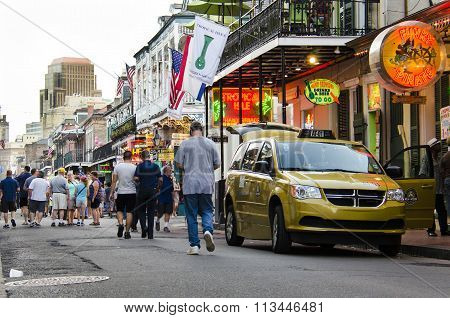 Crowd of people on Bourbon street in New Orleans, Louisiana