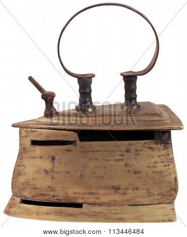 Old Cooper Iron Isolated with Clipping Path