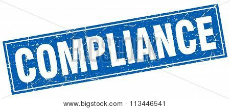 Compliance Blue Square Grunge Stamp On White
