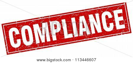 Compliance Red Square Grunge Stamp On White