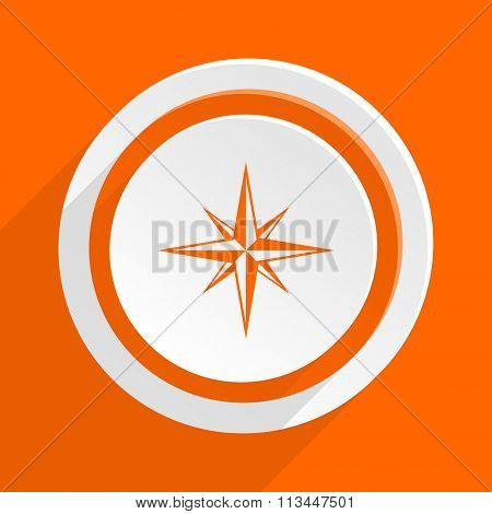 compass orange flat design modern icon for web and mobile app