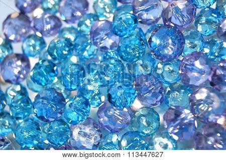 Light blue and lilac crystal glass beads