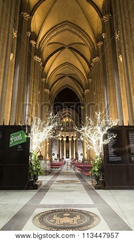 Interior Saint John Divine Church At Christmas Time