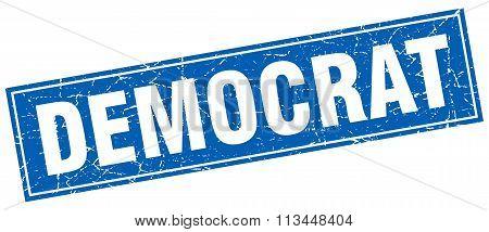 Democrat Blue Square Grunge Stamp On White