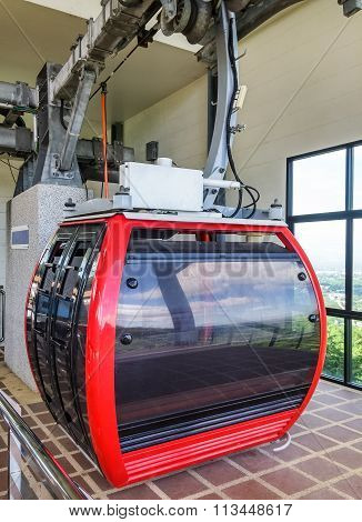 Modern Red Cable Car