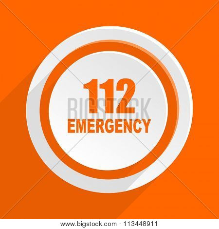 number emergency 112 orange flat design modern icon for web and mobile app
