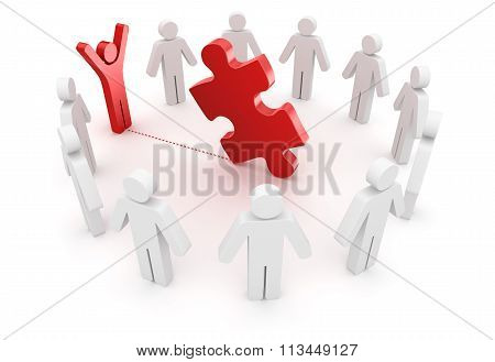 3D People And Red Puzzle Piece