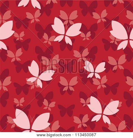 Vector Seamless Pattern With Butterfly On Red Background. Wallpaper