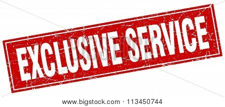 Exclusive Service Red Square Grunge Stamp On White