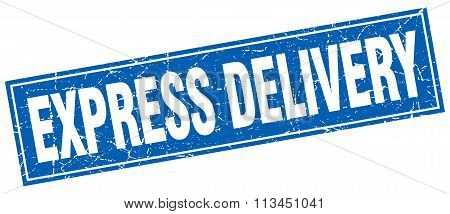 Express Delivery Blue Square Grunge Stamp On White