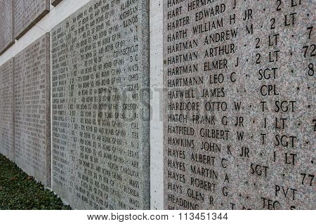 Names Of Second World War Casualties On A Tribute Wall In Florence, Italy