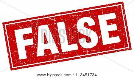False Red Square Grunge Stamp On White