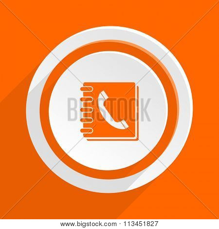 phonebook orange flat design modern icon for web and mobile app