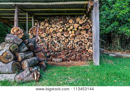 Barn With Stack Of Firewood With Pile Of Logs Nearby