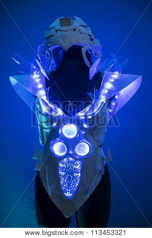 cyborg, bionic armor with blue LED lights and plastic materials