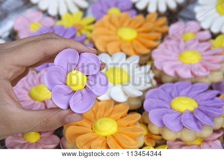 Flower sugar cookies hand decorated with royal icing