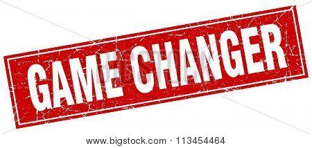 Game Changer Red Square Grunge Stamp On White
