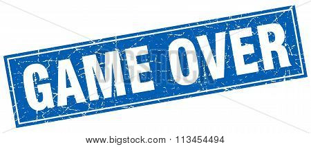 Game Over Blue Square Grunge Stamp On White