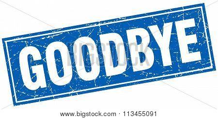 Goodbye Blue Square Grunge Stamp On White
