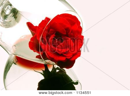 Rose In Wine Glass
